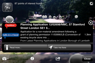 Lambeth Council's planning feed in LayAR